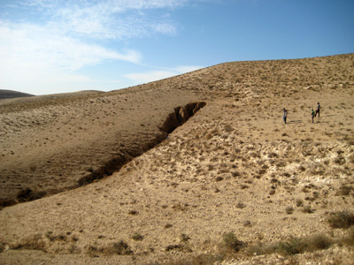 Gully development in the Bikhra catchment in the Negev Desert of Israel.
